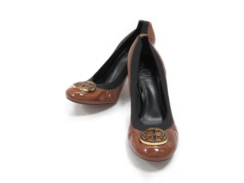 【中古】トリーバーチ パンプス レディース エナメル ブラウンxブラック (21118357) | TORY BURCH 靴 くつ 美品 ブランド ブランドオフ BRAND OFF
