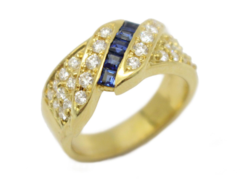 【中古】【送料無料】ジュエリー サファイア ダイヤモンド リング 指輪 レディース K18YG(750) イエローゴールド | JEWELRY リング 美品 18K K18 18金 ブランドオフ BRAND OFF