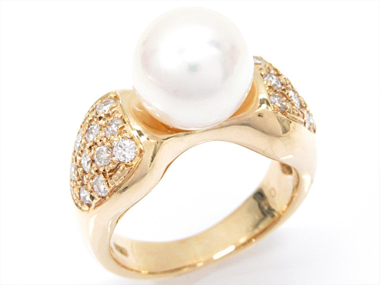 【中古】【送料無料】ジュエリー パールリング 指輪 レディース K18YG(750) イエローゴールドxパールxダイヤモンド(0.44ct) | JEWELRY リング 美品 18K K18 18金 ブランドオフ BRAND OFF