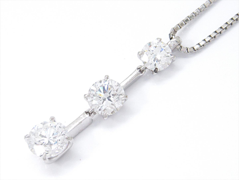 【中古】【送料無料】ジュエリー ブランドオフ プラチナxPT850xダイヤモンド(0.754/0.556/0.304ct) PT900 JEWELRY ダイヤモンドネックレス BRAND | レディース OFF 美品 ネックレス