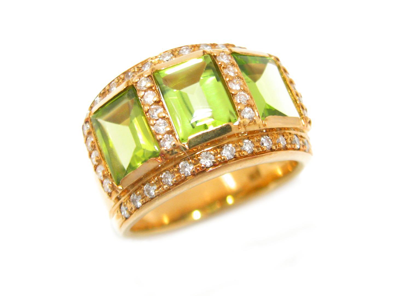 【中古】【送料無料】ジュエリー ペリドット リング 指輪 メンズ レディース K18YG(750) イエローゴールド x ペリドット x ダイヤモンド (0.41ct) | JEWELRY リング 美品 18K K18 18金 ブランドオフ BRAND OFF