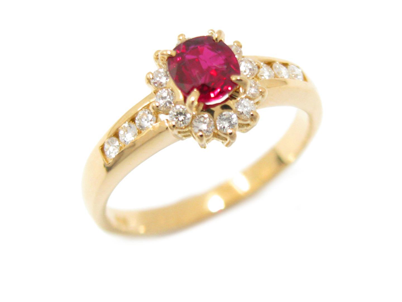 【中古】【送料無料】ジュエリー ルビー ダイヤモンド リング 指輪 レディース K18YG(750) イエローゴールド x ルビー (0.48ct) x ダイヤモンド (0.23ct)   JEWELRY リング 美品 18K K18 18金 ブランドオフ BRAND OFF