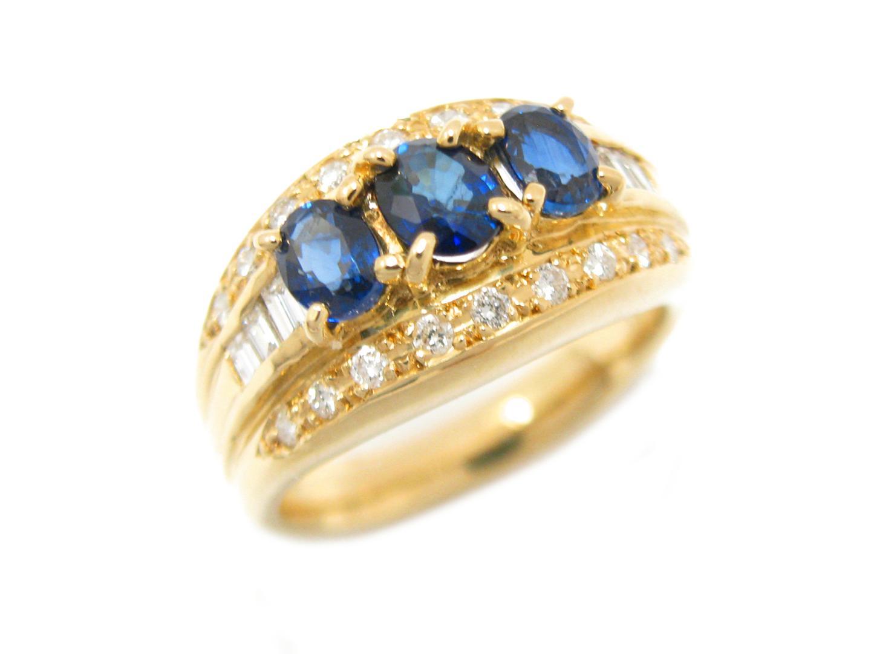 【中古】【送料無料】ジュエリー サファイア ダイヤモンド リング 指輪 メンズ レディース K18YG(750) イエローゴールド x サファイア (1.35ct) x ダイヤモンド (0.41ct) | JEWELRY リング 美品 18K K18 18金 ブランドオフ BRAND OFF