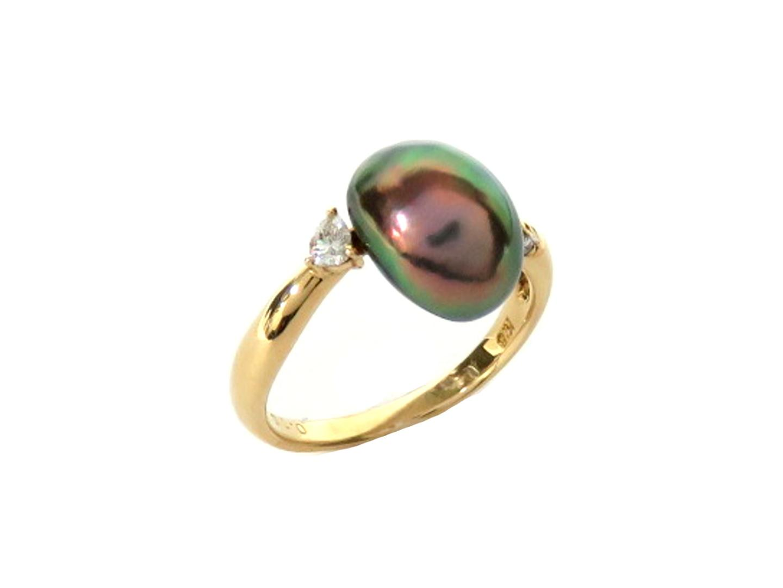 【中古】【送料無料】ジュエリー パール・ダイヤモンドリング 指輪 レディース K18YG(750) イエローゴールドブラックパール/ダイヤモンド(0.16ct) | JEWELRY リング 美品 18K K18 18金 ブランドオフ BRAND OFF