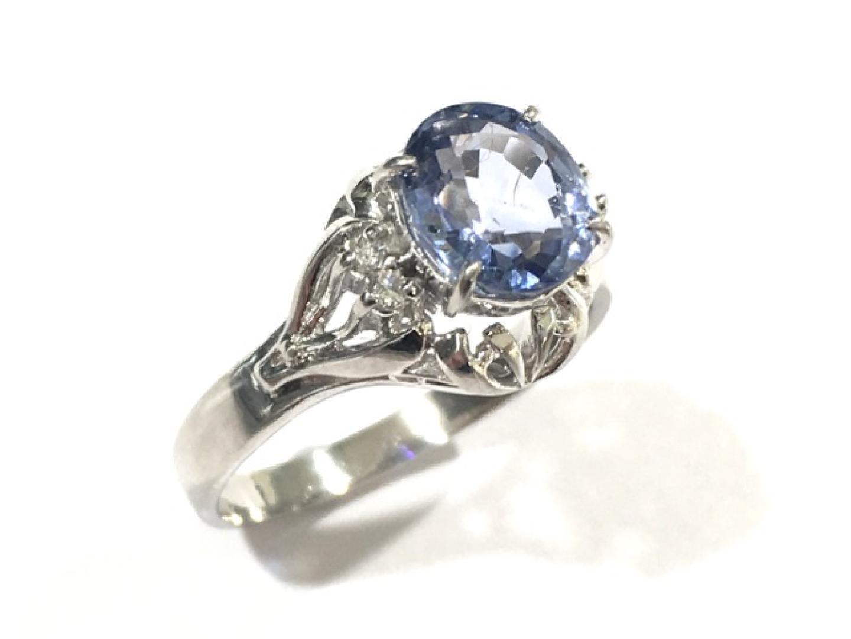 【中古】【送料無料】ジュエリー サファイアリング 指輪 レディース PT900 プラチナ×サファイア(1.77ct)×ダイヤモンド(0.04ct) | JEWELRY リング 美品 ブランドオフ BRAND OFF