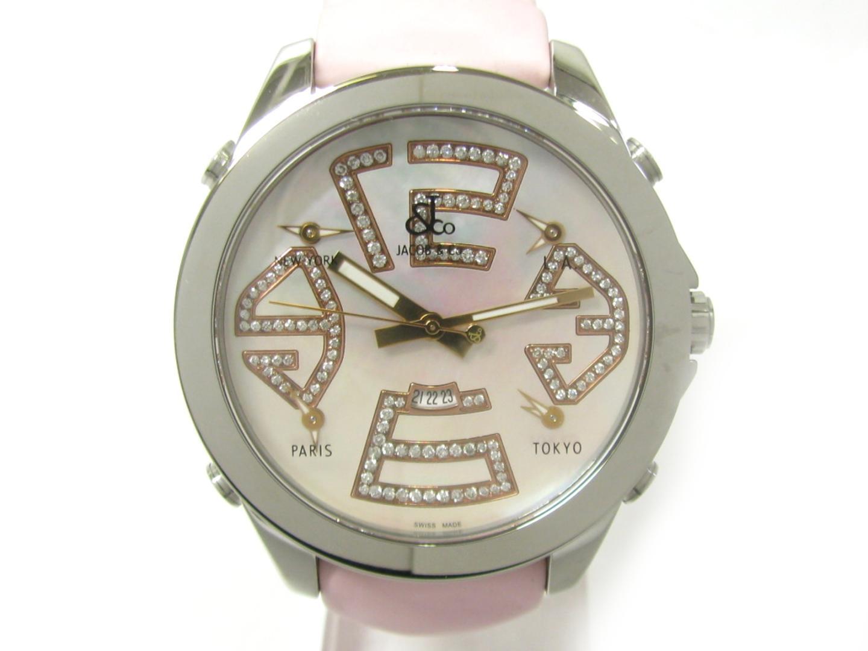 【中古】【送料無料】ジェイコブ 5タイムゾーン 腕時計 ウォッチ レディース ステンレススチール(SS) シルバー (JC105)   JACOB&CO. オートマチック 自動巻き 時計 WATCH 5タイムゾーン 美品 ブランド ブランドオフ BRAND OFF
