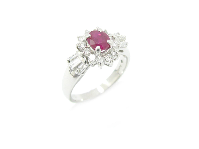 【中古】【送料無料】ジュエリー ルビー ダイヤモンド リング 指輪 レディース PT850 プラチナx ルビー (0.75) x ダイヤモンド(0.50) | JEWELRY リング 美品 ブランドオフ BRAND OFF