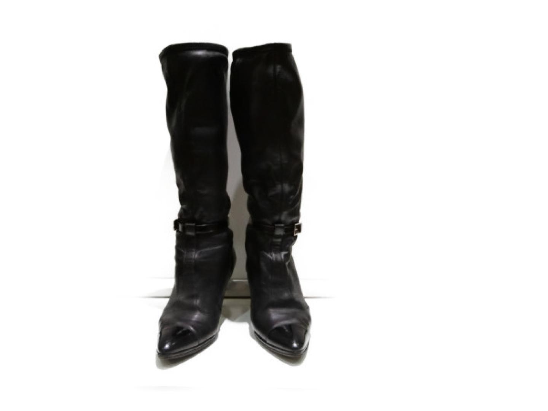 【中古】シャネル ブーツ レディース レザー エナメル ブラック | CHANEL くつ ブーツ 美品 ブランド ブランドオフ BRANDOFF