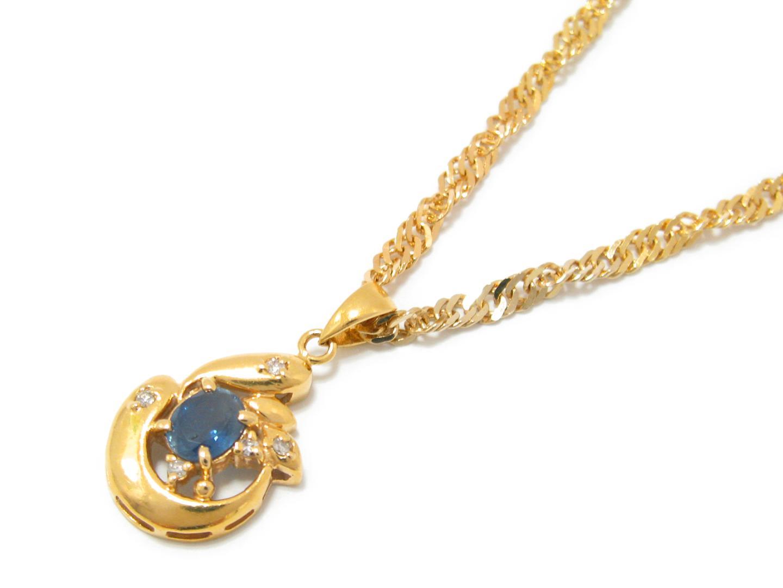 【中古】【送料無料】ジュエリー サファイア ネックレス レディース K18YG(750) イエローゴールド x サファイア (0.45ct) x ダイヤモンド (0.04ct) | JEWELRY ネックレス 美品 18K K18 18金 ブランドオフ BRAND OFF