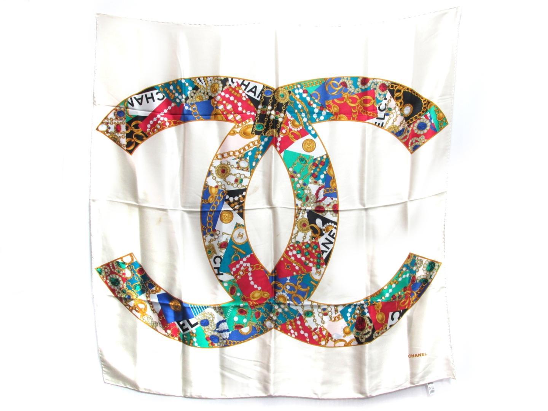 【中古】シャネル スカーフ レディース シルク アイボリー | CHANEL スカーフ 美品 ブランド ブランドオフ BRAND OFF