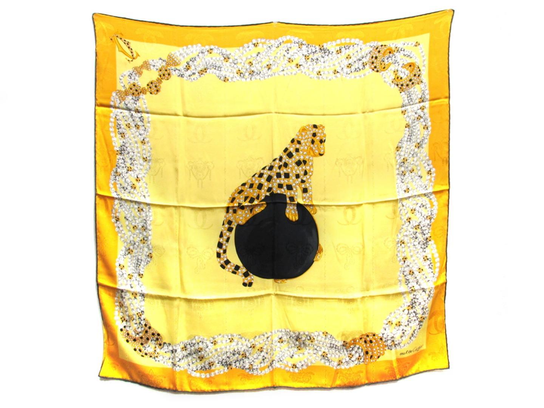 【中古】カルティエ スカーフ レディース シルク イエロー x オレンジ | Cartier スカーフ 美品 ブランド ブランドオフ BRAND OFF