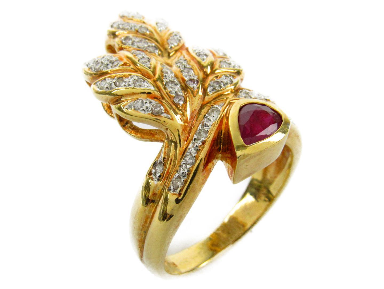 【中古】【送料無料】ジュエリー ルビー ダイヤモンド リング 指輪 レディース K18YG(750) イエローゴールドxルビー0.48/ダイヤモンド0.31ct | JEWELRY リング 美品 ブランドオフ BRANDOFF