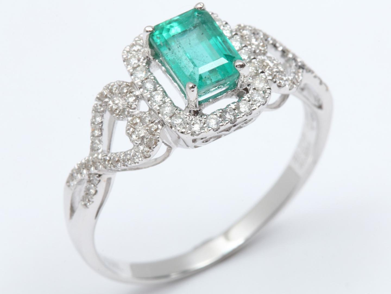 【中古】【送料無料】ジュエリー エメラルド ダイヤモンド リング 指輪 レディース K18WG(750) ホワイトゴールド x エメラルド(1.17ct) x ダイヤモンド(0.33ct) | JEWELRY リング 美品 ブランドオフ BRANDOFF