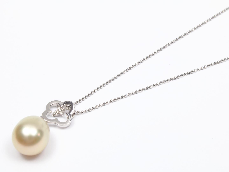 【中古】【送料無料】ジュエリー パール ダイヤモンド ネックレス レディース K18WG(750) ホワイトゴールド x パール x ダイヤモンド(0.03ct)   JEWELRY ネックレス 美品 ブランドオフ BRANDOFF