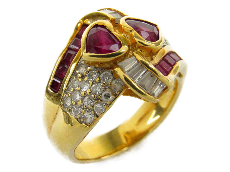 【中古】ジュエリー ルビー ダイヤモンド リング 指輪 レディース K18YG(750) イエローゴールドxルビー0.86/ダイヤモンド0.52ct