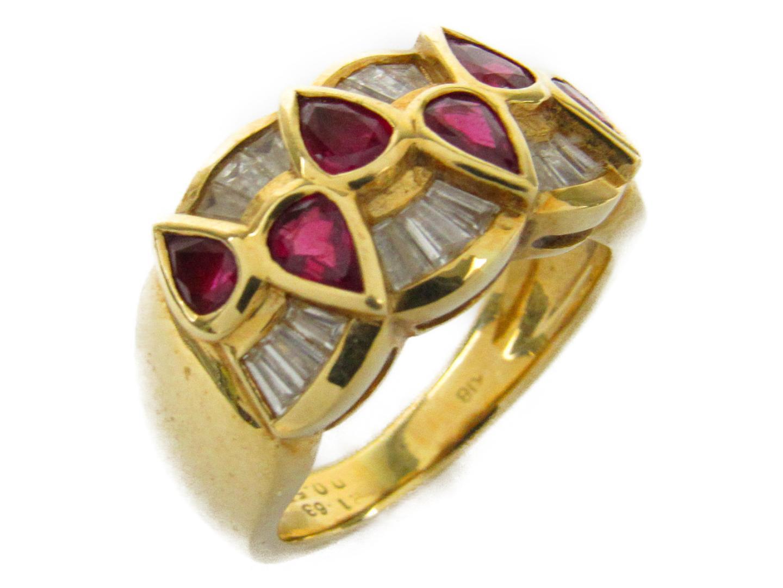【中古】ジュエリー ルビー ダイヤモンド リング 指輪 レディース K18YG(750) イエローゴールドxルビー1.63/ダイヤモンド0.55ct