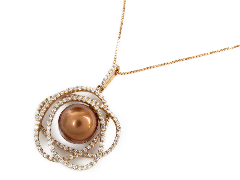 【中古】ジュエリー パール ダイヤモンド ネックレス レディース K18PG(750) ピンクゴールドxパール11.1mmxダイヤモンド0.90ct