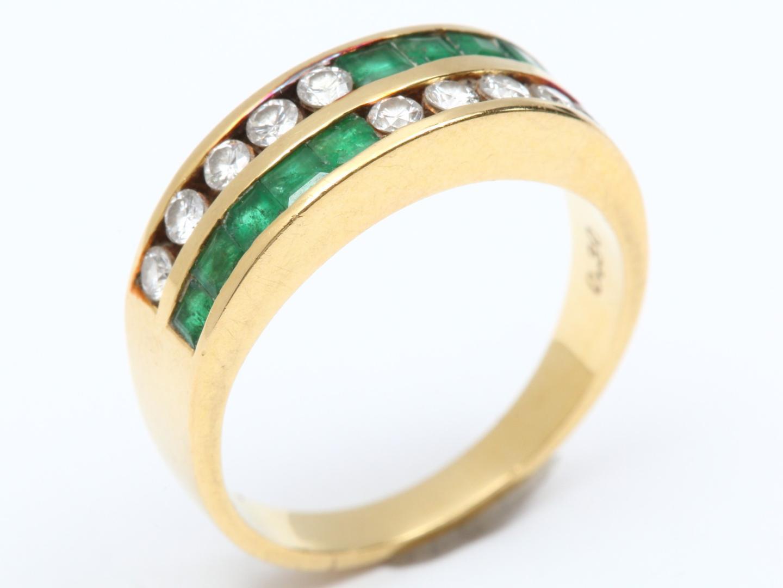 【中古】【送料無料】ジュエリー エメラルド ダイヤモンド リング 指輪 レディース K18YG(750) イエローゴールド x エメラルド(0.30ct) x ダイヤモンド(0.47ct) | JEWELRY リング エメラルドリング 美品 ブランドオフ BRANDOFF