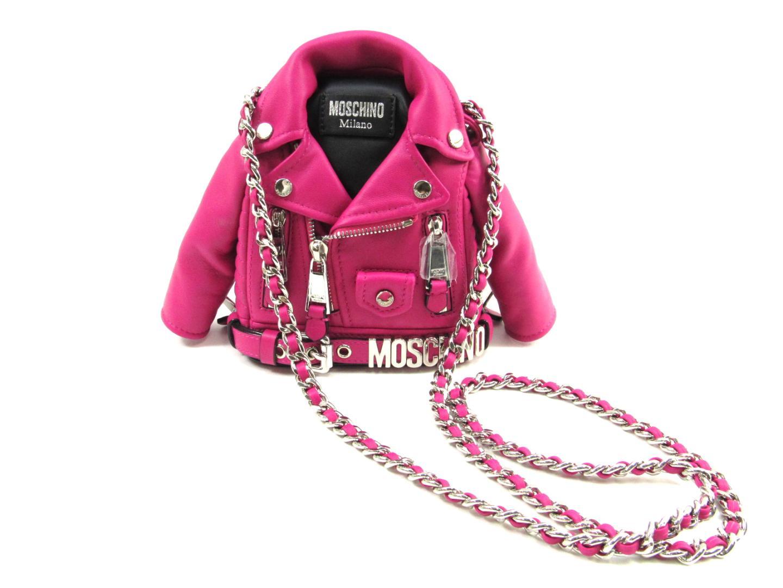 モスキーノ チェーンショルダーバッグ ショルダーバッグ レディース レザー×シルバー金具 ピンク