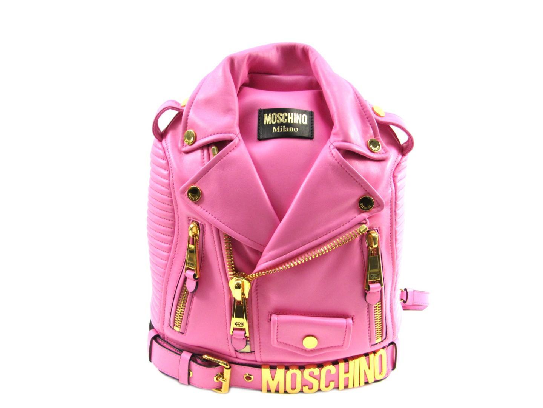 【中古】モスキーノ リュックサック バッグパック レディース レザー×ゴールド金具 ピンク