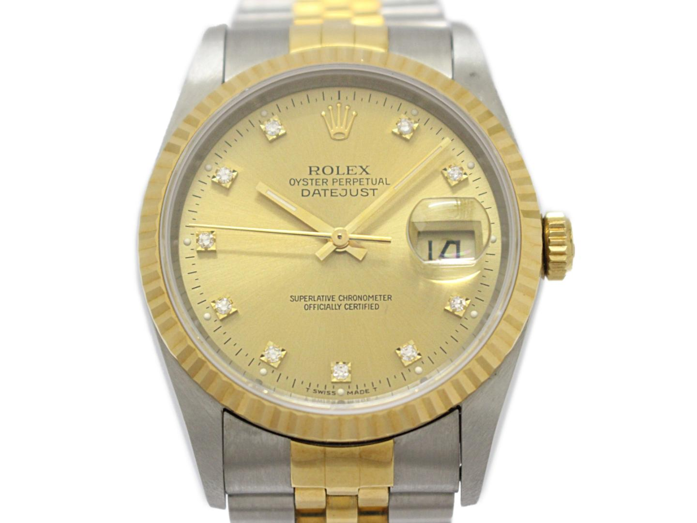 【中古】ロレックス デイトジャスト 10Pダイヤモンド メンズウォッチ 腕時計 レディース K18YG(750)イエローゴールド×ステンレススチール(SS) (16233G )