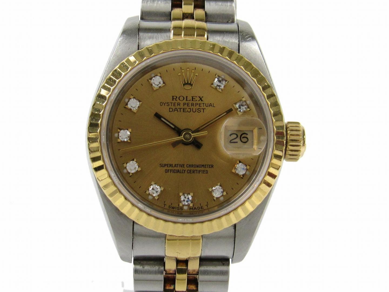 【中古】ロレックス デイトジャスト 10Pダイヤモンド 腕時計 ウォッチ レディース K18YG(750)イエローゴールドxステンレススチールxダイヤモンド (69173G X番)