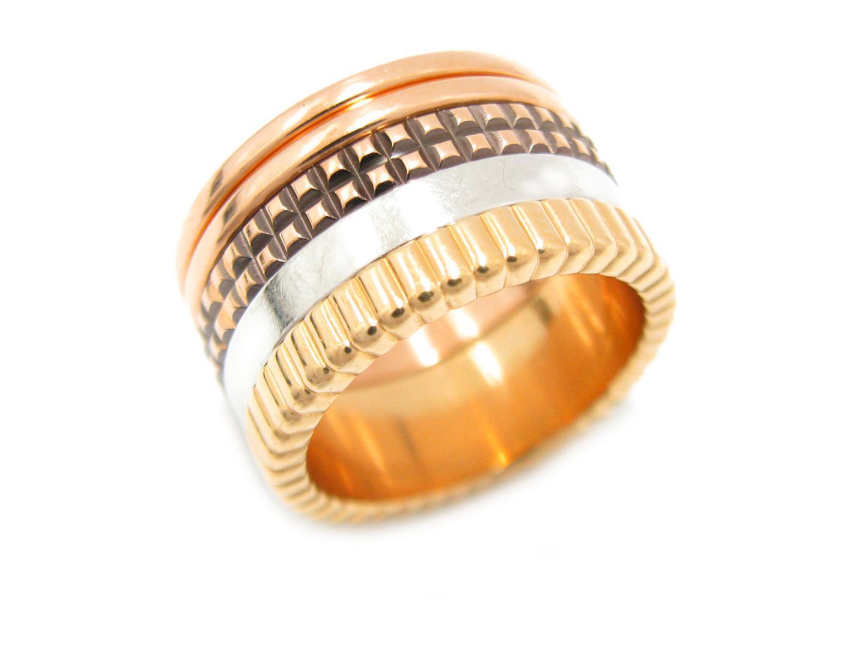 【中古】ブシュロン キャトル クラシック リング ラージ 指輪 ユニセックス K18YG(750) イエローゴールド x K18WG ホワイトゴールド x K18PG ピンクゴールド x ブラウンPVD (JRG00257)