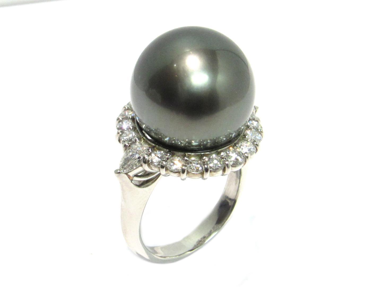 【中古】ジュエリー ブラックパール リング 指輪 レディース PT900 プラチナxブラックパールxダイヤモンド1.038/0.41ct ブラック
