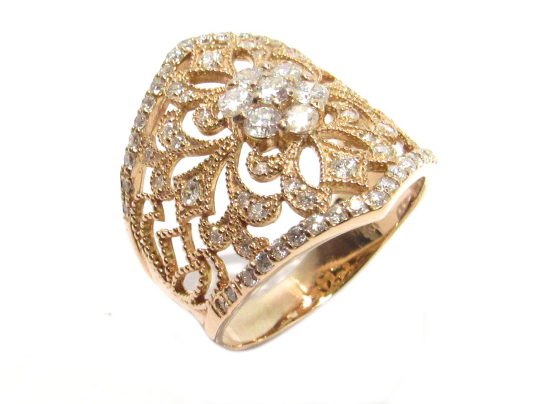 【中古】ジュエリー ダイヤモンド リング 指輪 レディース K18PG(750) ピンクゴールドxダイヤモンド1.00ct クリアー