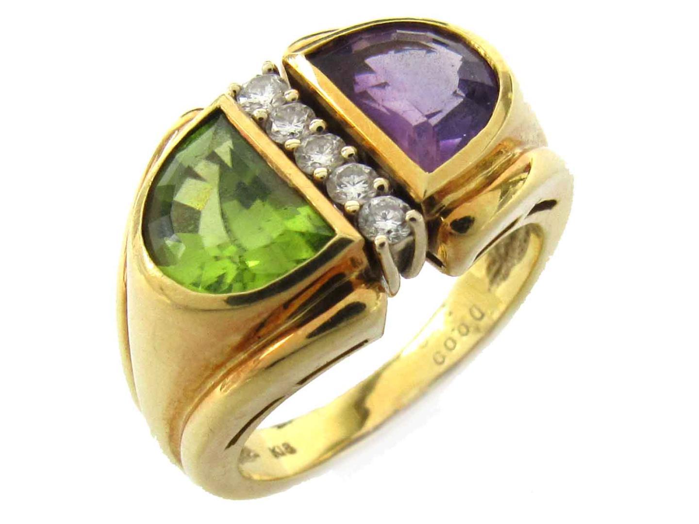 【中古】ジュエリー アメジスト ぺリドット ダイヤモンド リング 指輪 レディース K18YG(750) イエローゴールド x 色石(アメジスト x ぺリドット3.00ct) x ダイヤモンド(0.09ct)