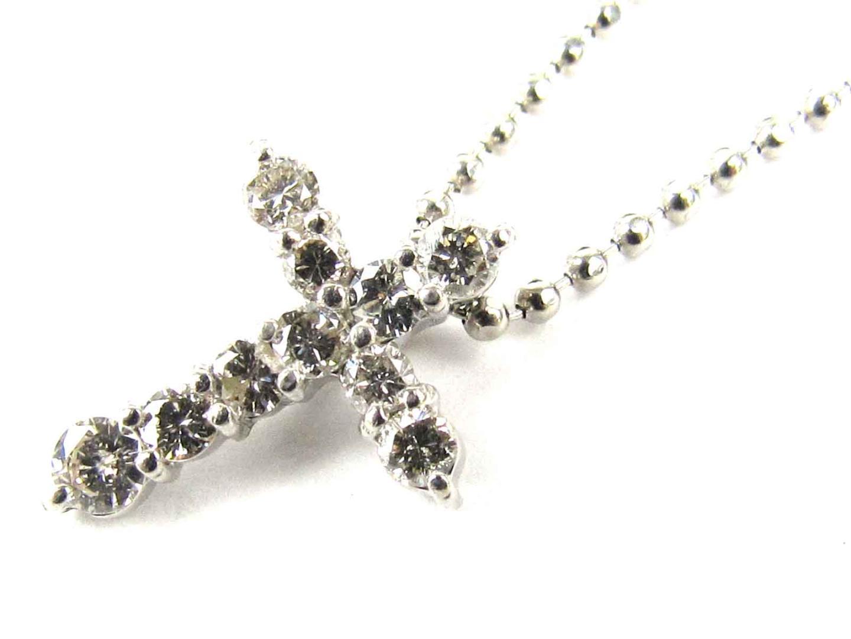 【中古】ジュエリー クロス ダイヤモンド ネックレス レディース PT900 プラチナ x PT850 プラチナ x ダイヤモンド(0.30ct)