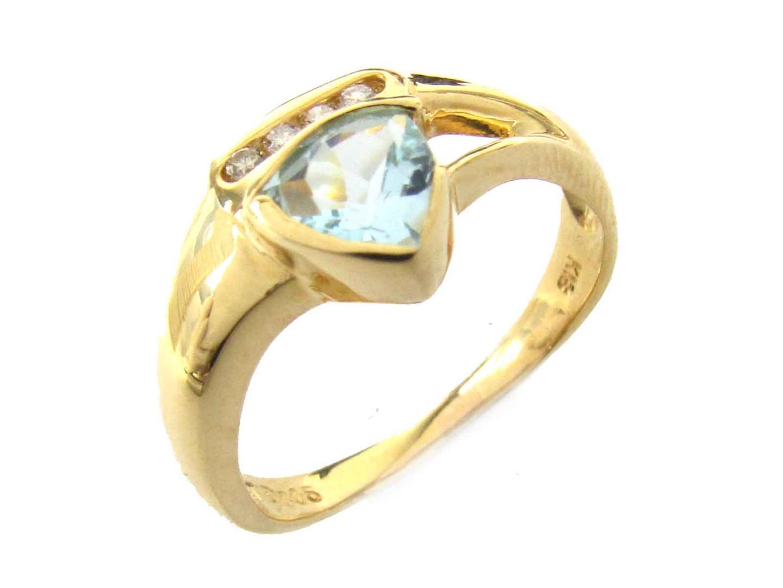 【中古】ジュエリー ブルートパーズ ダイヤモンド リング 指輪 レディース K18YG(750) イエローゴールド x ブルートパーズ x ダイヤモンド(0.05ct)