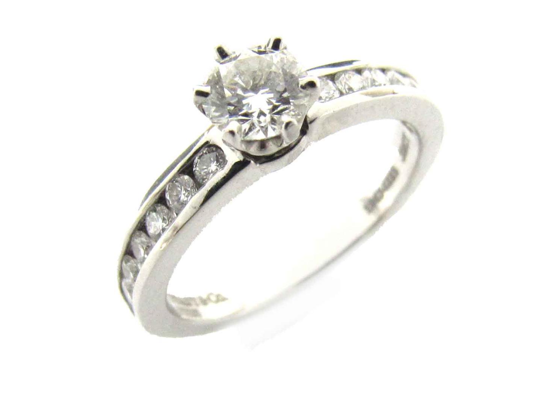 【中古】ティファニー ソリティア チャネル セッティング ダイヤモンド リング 指輪 レディース PT950 プラチナ x ダイヤモンド(0.32ct)