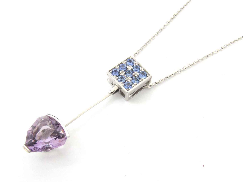 【中古】ジュエリー アメジスト サファイア ダイヤモンド ネックレス レディース K18WG(750) ホワイトゴールド x アメジスト(3.00ct) x サファイア(0.45ct) x ダイヤモンド