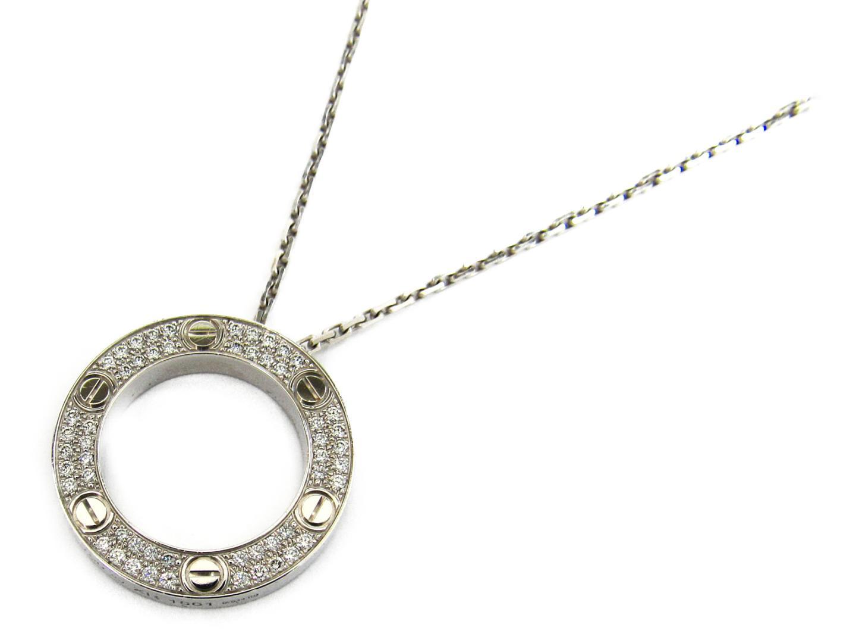 【中古】カルティエ ラブネックレス パヴェダイヤモンド ネックレス レディース K18WG(750) ホワイトゴールドxダイヤモンド
