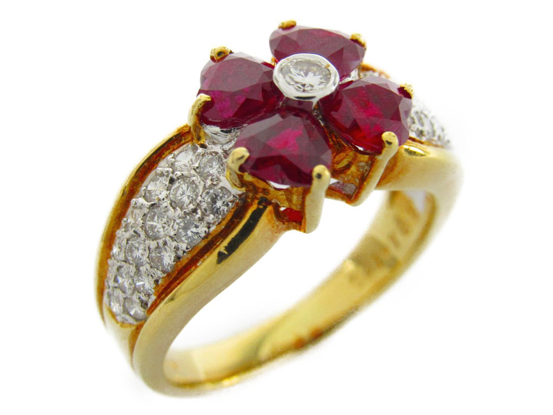 【中古】ジュエリー ルビー ダイヤモンド リング 指輪 レディース K18YG(750) イエローゴールドxルビー1.86/ダイヤモンド0.41ct