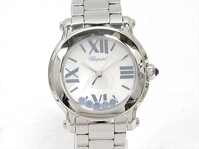 【中古】ショパール ハッピースポーツ 腕時計 ウォッチ レディース ステンレススチール(SS)xサファイア(5P) (8509)