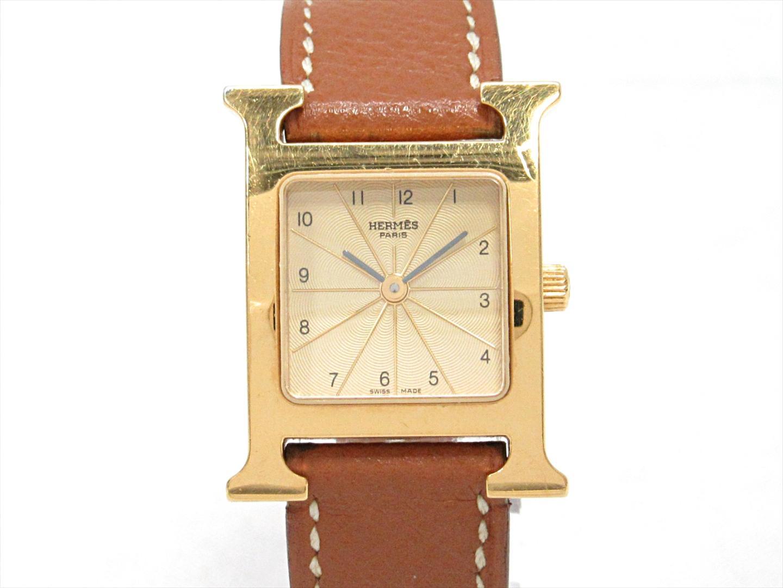 【中古】エルメス Hウォッチ 腕時計 ウォッチ レディース ステンレススチール(SS)xレザーベルト (HH1.201)