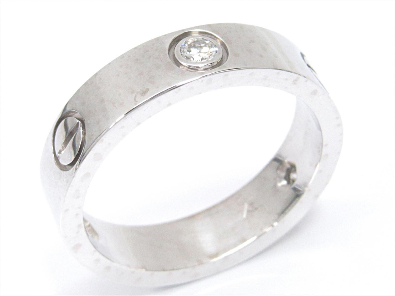 【中古】カルティエ ラブリング 指輪 ユニセックス K18WG(750) ホワイトゴールドxダイヤモンド(3P)