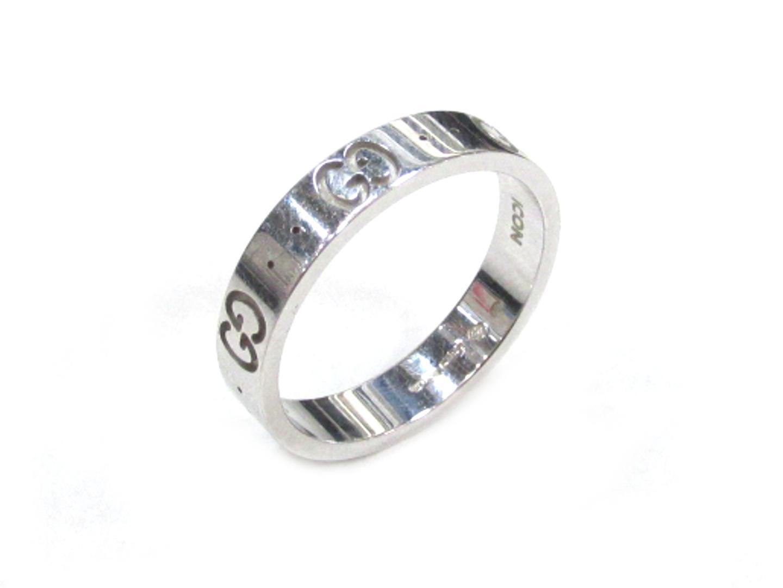 【中古】グッチ アイコン リング 指輪 レディース K18WG(750) ホワイトゴールド