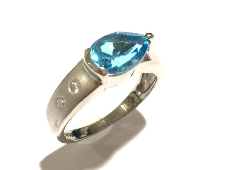 【中古】ジュエリー ブルートパーズリング 指輪 レディース PT900 プラチナ×ブルートパーズ×ダイヤモンド(0.07ct)