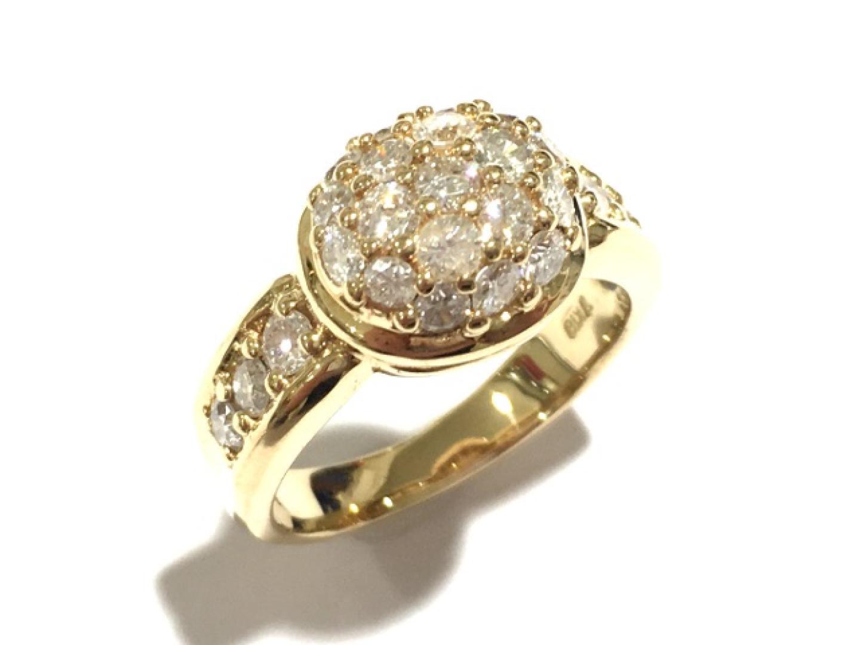 【中古】ジュエリー ダイヤモンドリング 指輪 レディース K18YG(750) イエローゴールド×ダイヤモンド(1.07ct)
