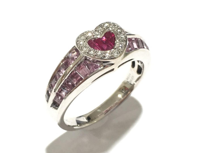 【中古】ジュエリー マルチリング 指輪 レディース K18WG(750) ホワイトゴールド×ルビー(0.14ct)×ダイヤモンド(0.09ct)×ピンクサファイア(1.00ct)