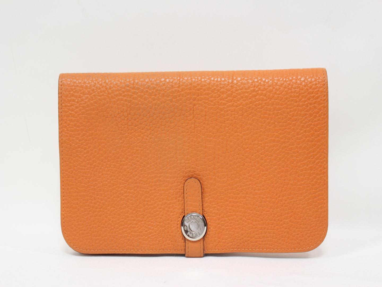 【中古】エルメス ドゴンGM 二つ折り長財布 レディース トゴ オレンジ×シルバー金具