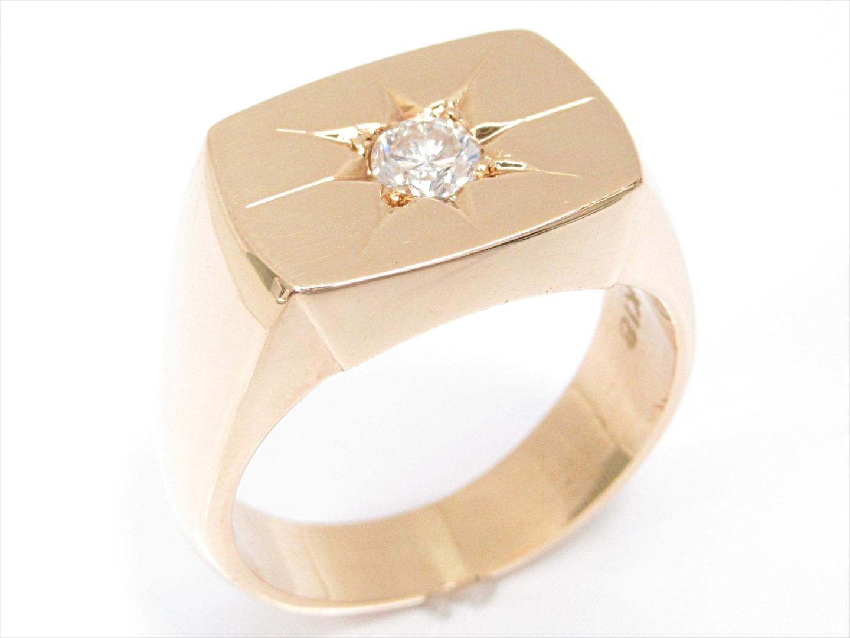 【中古】ジュエリー 印台リング 指輪 ユニセックス K18YG(750) イエローゴールドxダイヤモンド(0.330ct)