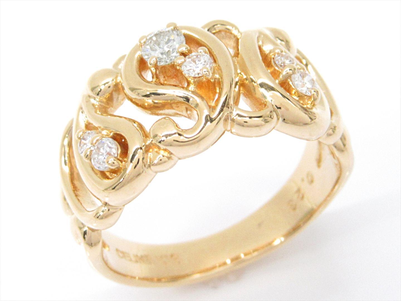 【中古】セリーヌ ダイヤモンドリング 指輪 レディース K18YG(750) イエローゴールドxダイヤモンド(0.23ct)