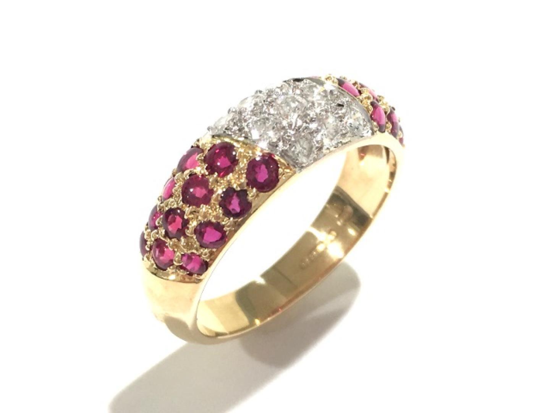 【中古】ジュエリー ルビー ダイヤモンド リング 指輪 レディース K18YG(750) イエローゴールド×ルビー×ダイヤモンド