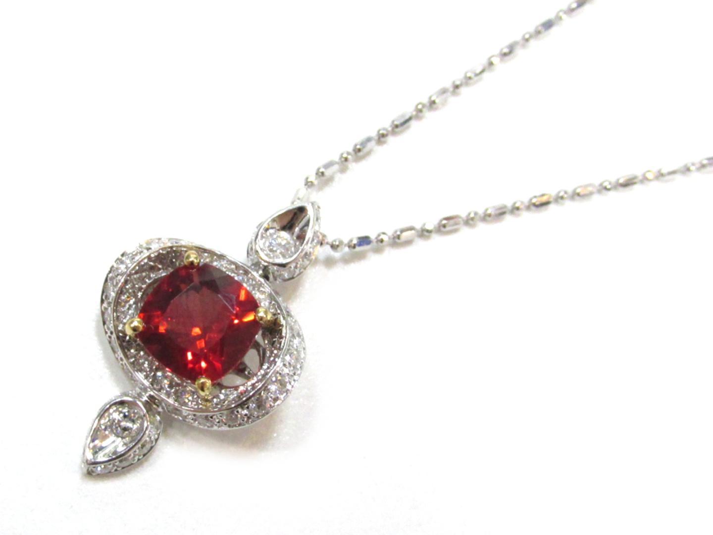 【中古】ジュエリー ネックレス レディース K18WG(750) ホワイトゴールドxアンデシン(1.2ct)xダイヤモンド(0.47ct) レッドxシルバー
