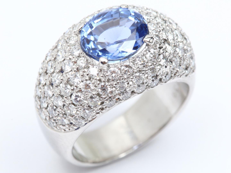 【中古】ジュエリー 非加熱サファイア ダイヤモンド リング 指輪 レディース PT900 プラチナ x 非加熱サファイア(2.565ct) x ダイヤモンド(1.39ct)