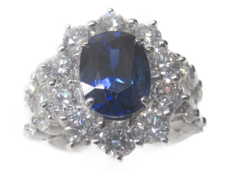 【中古】ジュエリー サファイアリング 指輪 レディース PT900 プラチナ×サファイア4.31ct×ダイヤモンド3.87ct ブルー